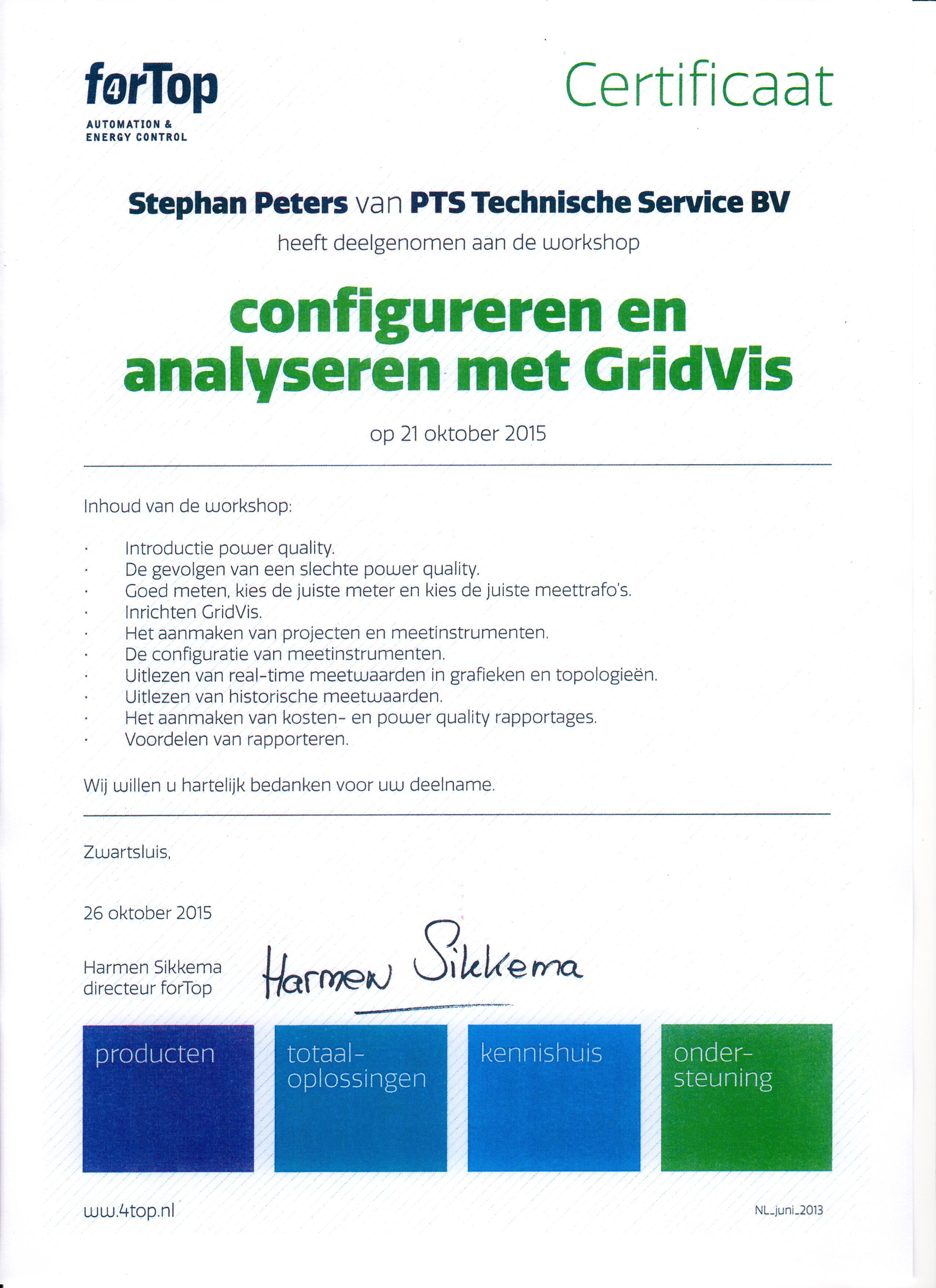 gridvis certificaat stephan peters